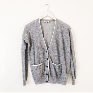 Madewell Color Tip Button Down Cardigan Linen